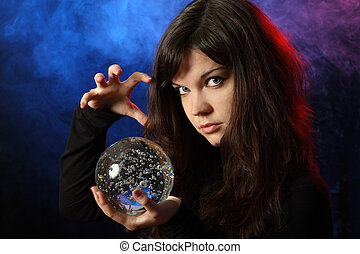 girl - The beautiful girl with a crystal sphere, the...