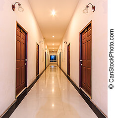 Perspective of the long corridor in hotel