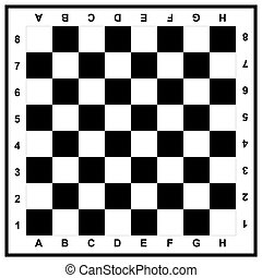 chessboard - black and white chess board with markings on a...