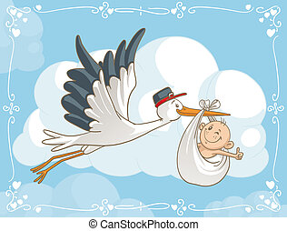 Stork with Baby Vector Cartoon - Vector cartoon of a cute...