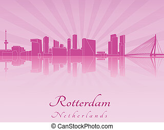 Rotterdam skyline in purple radiant orchid in editable...