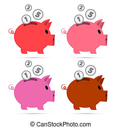 Vector Piggy Bank Set Isolated on White Background