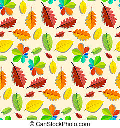 Colorful Vector Seamless Leaves Pattern