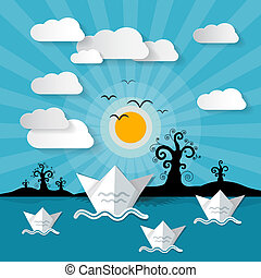 Abstract Vector Ocean - Lake - River Background with Trees, Island, Clouds and Birds