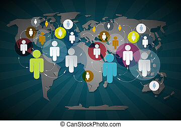 Vector People in Circles on World Map - Social Media...