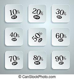 Vector 10% off, 20% off, 30% off, 40% off, 50% off, 60% off, 70% off, 80% off, 90% off, Stickers, Labels