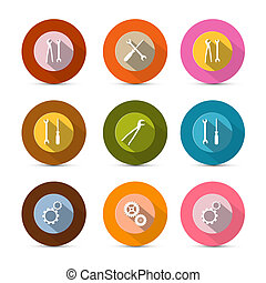 Circle Tools Vector Icons Isolated on White Background