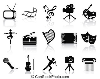 art concept icons set - isolated black art concept icons set...