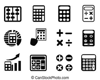 black Calculator icons set