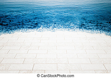 Marble floor being flooded by sea, climate change...