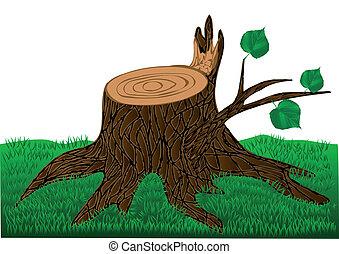 stump on a green grass. 10 EPS
