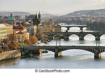 Prague bridges aerial view