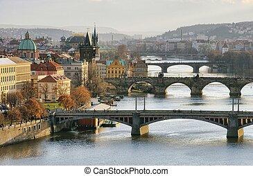 Prague bridges aerial view