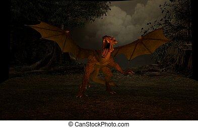 dragon - 3d render of dragon scene