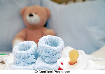 Baby Stuff - Baby Shoes and Pacifier with Teddy