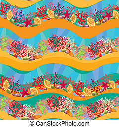 Seamless pattern with Coral Reef and Marine life -...