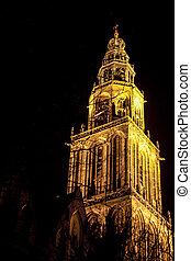Tower at night - famous martinitower of groningen at night