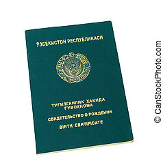 Uzbekistan birth certificate isolated on the white...