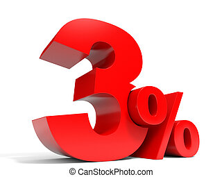 Red three percent off Discount 3 3D illustration