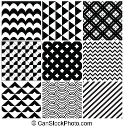 Vector Geometric Background Pattern Set - Vintage Black and...
