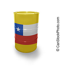 Barrel with Chilean flag on the white background