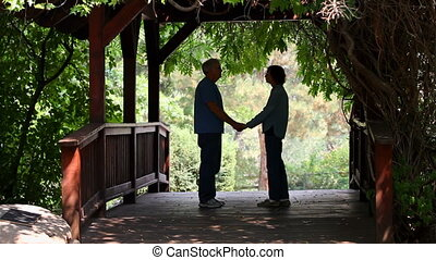 Seniors Kissing On Footbridge - Two senior adult retirees...