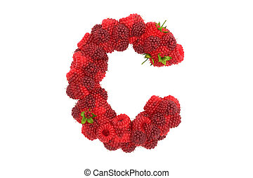 Raspberry letter C on white background - Raspberry letter on...