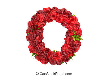 Raspberry letter O on white background - Raspberry letter on...