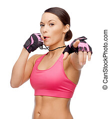 asian personal trainer with whistle - sport, fitness and...