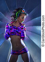Shot of clubbing model posing at camera, close-up