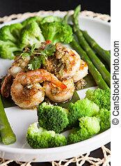 Shrimp Scampi with Vegetables - Shrimp scampi seafood dish...