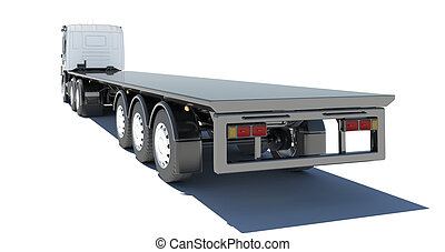 Truck with semitrailer platform Rear view Isolated render on...