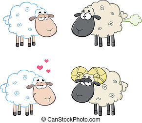 Sheep Characters 4. Collection Set - Funny Sheep Cartoon...