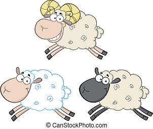 Sheep Characters 3. Collection Set - Funny Sheep Cartoon...