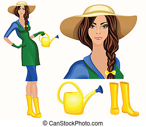 Young woman garden worker - Attractive young gardener woman...