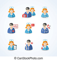 Medicina, medicos, enfermeras, iconos, Conjunto