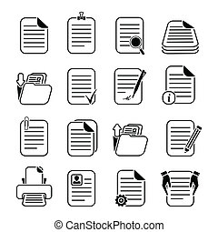 Documents files and folders icons set - Documents paper and...