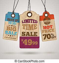 Cardboard sale promotion tags - Cardboard sale limited time...