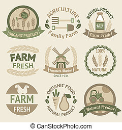 Farming harvesting and agriculture labels - Farming...