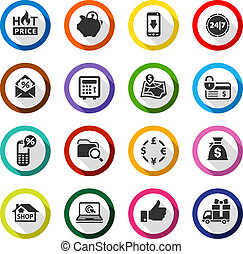 Shopping flat color icons set 02