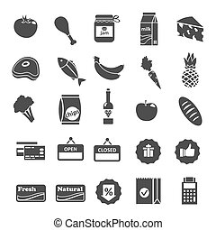 Supermarket Food Selection Icons Set - Supermarket food...
