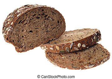 wholemeal bread - Wholemeal bread isolated over a white...