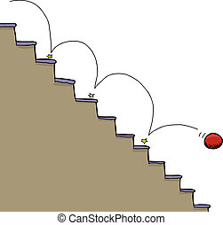Ball and Staircase - Bouncing red ball falling down...