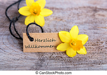 Herzlich Willkommen Label - Label with Narcissus and the...