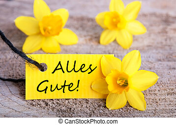 Yellow Label with Alles Gute - Yellow Label with the German...