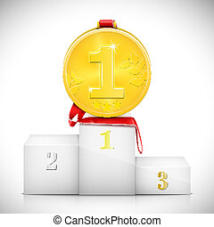 Gold Medal On Pedestal Of Winners. Vector Illustration.