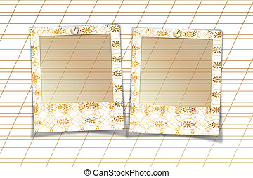 Slides with handmade ornaments for photos on white abstract background