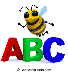 3d Alphabet bee - 3d render of a bee with the letters ABC