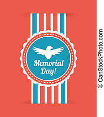 Memorial Day design over red background, vector illustration