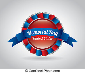 Memorial Day design over gray background, vector...